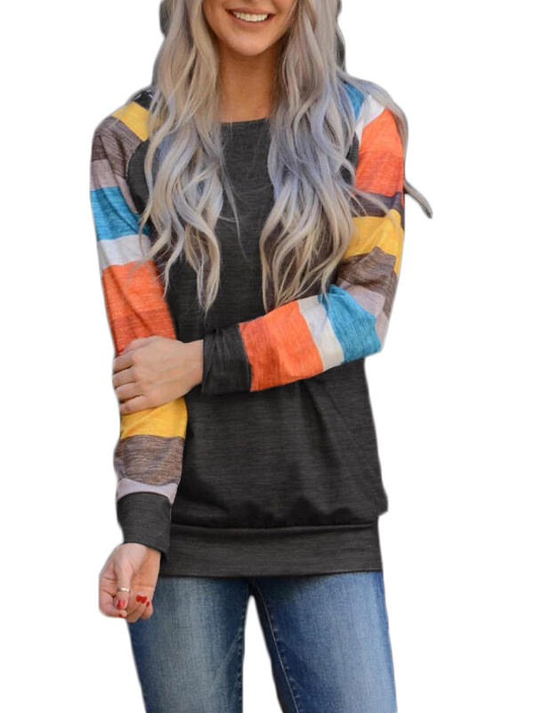 Crew Neck Contrast Color Striped Long Sleeve Tee