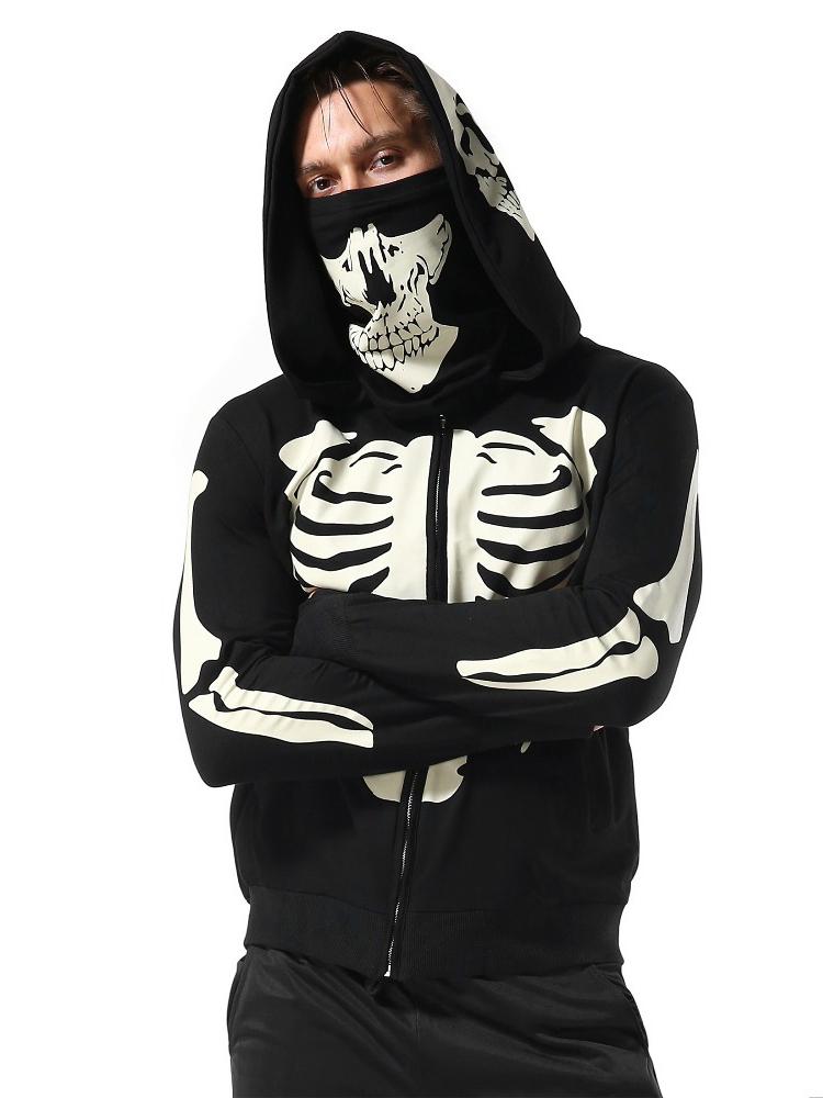 Casual Skull Printed Hoodies For Men