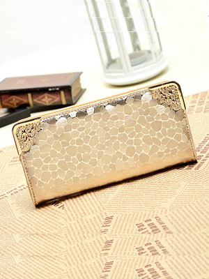 Stone Grain Zipper Embossing Clutch Bag