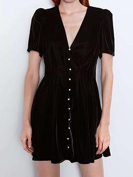 Velvet Solid Ruffled A Line Mini Dress