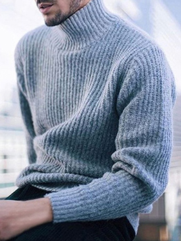 Casual Turtle Neck Solid Sweaters For Men
