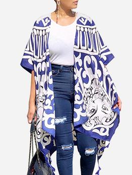 Printed Short Sleeve Chiffon Shawl Coat
