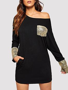 Sequined Pocket Patchwork Loose Black Long Sleeve Dress