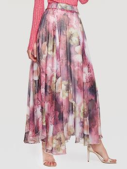 Flowers Printed Elastic Waist Lightweight Maxi Skirt