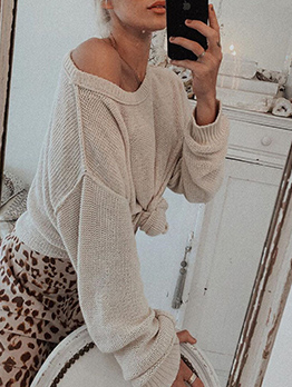 Hot Sale Solid Long Sleeve Loose T-Shirt For Women