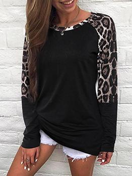 Crew Neck Leopard Patchwork Long Sleeve T Shirt