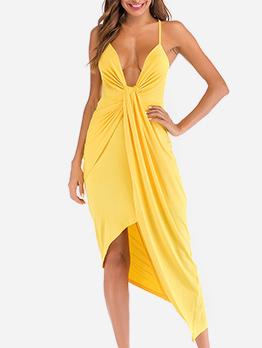 Cross Irregular Backless Spaghetti Strap Evening Dress