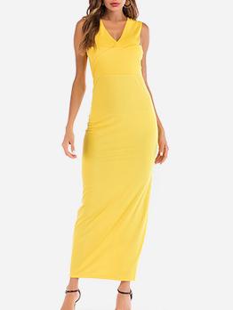 Bodycon Yellow Sleeveless Maxi Dress
