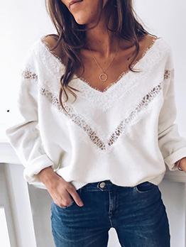 Elegant Lace Panel Long Sleeve White T Shirt