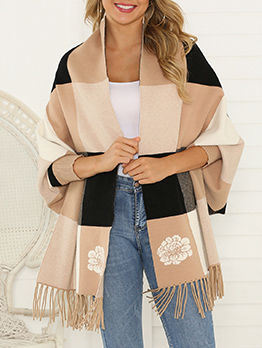 Contrast Color Check Tassel Hem Knitted Shawl Cardigan