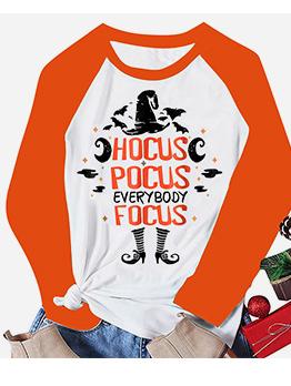 Halloween Letter Print Crew Neck Long Sleeve T Shirt