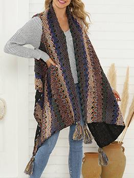 Irregular Hem Tassel Patchwork Sleeveless Knit Cardigan