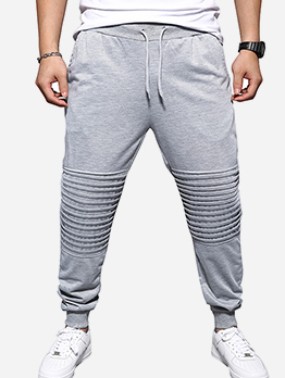 Solid Ruched Leisure Men Jogger Pants