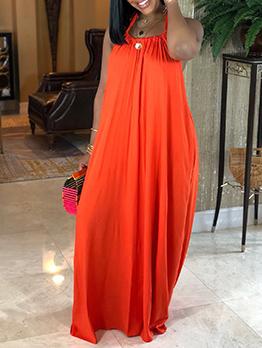 Bohemian Loose Tie Up Backless Halter Dress