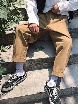 Loose Solid Pockets Wide Leg Pants