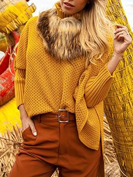Irregular Design High Low Hem Solid Turtleneck Sweater
