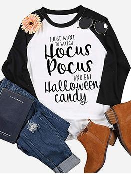 Halloween Letter Crew Neck Long Sleeve Cotton T Shirt