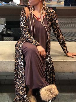 Leopard Printed Long Sleeve Cardigan Long Coat