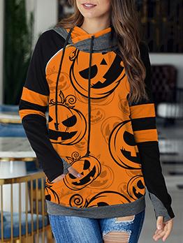 Halloween Pumpkin Printed Colorblock Pullover Hoodie