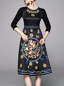 Printed Black Three Quarter Sleeve Dress