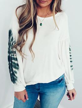 Draped Printed Long Sleeve Sweatshirt For Women
