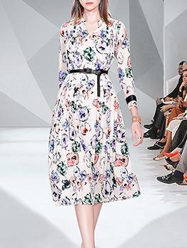 Elegant Floral Ruffled Long Sleeve Dress