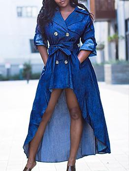 Fashion High-Low Blazer Maxi Dresses