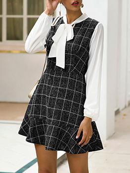 Fashion Tie Neck Plaid Long Sleeve Dress