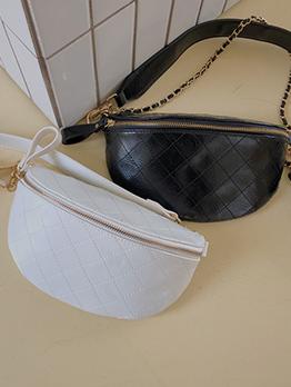 Diamond Pattern Crossbody Shoulder Bag With Chain