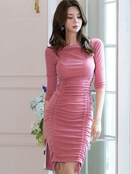 Drawstring Pink Three Quarter Sleeve Bodycon Dress