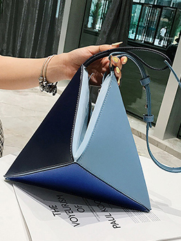Fashion Color Block Folding Geometry Shoulder Bag