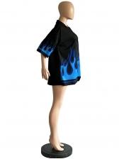 Blue Flame Printed Half Sleeve Black Blouse