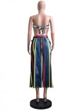Fashion Striped Tie Wrap High Waisted Skirt
