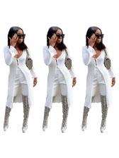Deep V Neck White Thin Long Coat Women