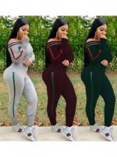 Off Shoulder Striped Decor Long Sleeve 2 Piece Pants Set
