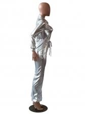 Fashion turndown collar Silvery Long Sleeve Jumpsuit