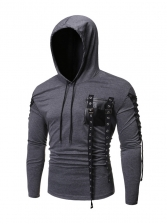 Individual Patchwork Tied Rope Hooded t Shirt