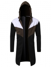 Winter Contrast Color Hooded Men Outerwear