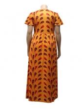 Printed Split Hollow Plus Size Short Maxi Dresses