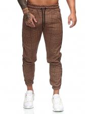 Houndstooth Printed Drawstring Pencil Pants