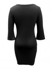 Solid Pleated Flare Three Quarter Sleeve Short Dress