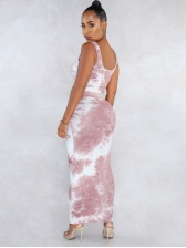 Tie Dye Cropped Tie Front Two Piece Skirt Set