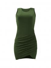 Solid Ruffled Bodycon Sleeveless Mini Dress