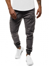 Leisure Solid Pockets Loose Jogger Pants