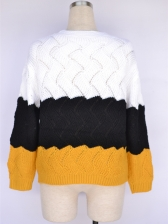 Contrast Color Patchwork Knitting Pullover Sweater