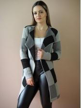 Color Block Plaid Turndown Neck Knit Long Cardigan