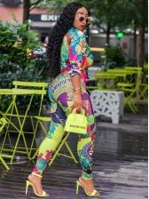 Multicolored Printed Long Sleeve 2 Piece Pants Set