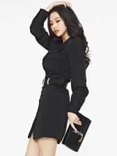 Autumn Black Blazer Long Sleeve Dress