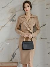 Solid Slim Waist Split Notch Collar Formal Dresses