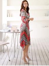 V Neck Printed Ruffled Slim Waist Short Dress